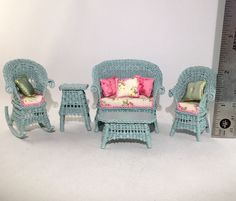 "OOAK Handcrafted 1/2"" Scale Miniature Dollhouse Victorian Wicker Settee DeVine #HandCrafted"