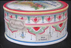 Circa 1920s this is a rather rare face powder box called : SHEM-EL-NESSIM. The box comes from the J. Grossmith &Son Perfumers of London. The box is empty and there are a couple of very faint spots on the lid that are hardly noticeable. The graphics are wonderful and the colors are nice