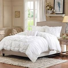 4-Piece Harlow Duvet Set in White