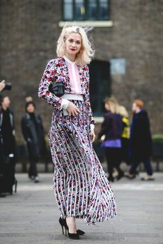 The Best Street Style At LFW AW16 #refinery29  http://www.refinery29.uk/2016/02/103500/street-style-london-fashion-week-aw16-news#slide-80  Model Portia Freeman in Mary Katrantzou and Charlotte Olympia heels....