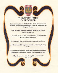 Jrotc Creed | Army JROTC Creed ... I love ROTC in high school thought about it in college..