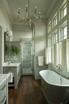 walkin shower, narrow tub, windows...