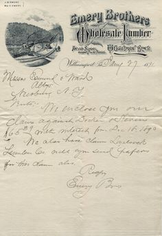 1891 - Emery Brothers Lumber - Illustrated Letterhead - Williamsport PA
