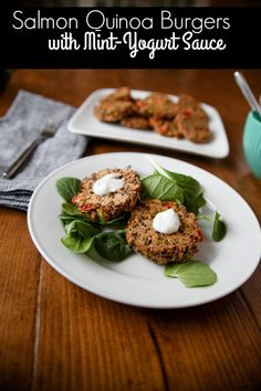 Salmon Quinoa Burgers with Mint-Yogurt Sauce // This recipe is loaded with healthy fats, fiber and protein! Not to mention, they're DELICIOUS! A must make for your next dinner, then eat the leftovers for lunch // KathEats.com