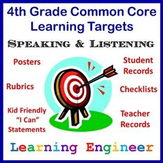 FREE! • Includes all the Common Core Speaking & Listening Standards for 4th Grade. • Posters • Individual Student Record Sheets • Whole Class Checklist • Teaching Record Sheets • Index for each subject area • Student Friendly Language #LearningTargets
