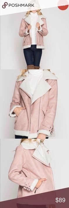 Faux Suede Shearling Jacket The jacket is not bulky, quite light. Misty pink color is stunning. Keep warm and cute in this faux shearling jacket!  75% cotton, 25% polyester   Measurements: Size M: Bust Flat 22.5/Shoulders 17.5/Length 26 Size L: Bust Flat 23.5/Shoulders 18.5/Length 27 She and Sky Jackets & Coats