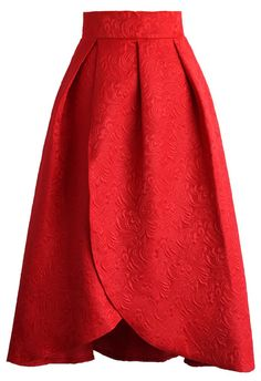 Tulip Fairy Embossed Midi Skirt in Ruby - Skirt - Bottoms - Retro, Indie and Unique Fashion
