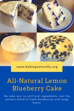 All-natural lemon blueberry cake. No cake mix. No artificial ingredients. Just the perfect blend of fresh blueberries and tangy citrus. I'm glad I took a picture yesterday, because today I have only one piece left, and it's mine!