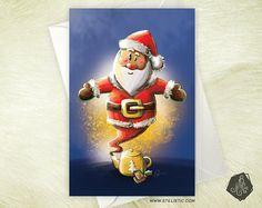 Carte de voeux Père Noël Génie et Théière magique