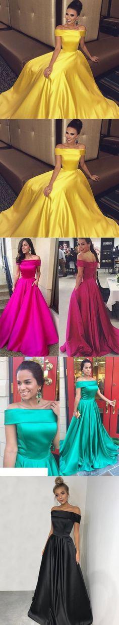 Off The Shoulder Long Satin Gold Prom Dresses Ball Gowns 2018 M1114#prom #promdress #promdresses #longpromdress #promgowns #promgown #2018style #newfashion #newstyles #2018newprom#eveninggown#satingold#offshoulder#ballgowns