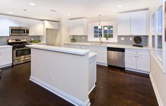 White cabinets with dark floors...and gray tiles...love it!