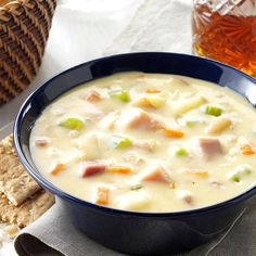 Cheddar Potato Chowder Recipe- Recipes I only made this soup occasionally because the original recipe was quite high in fat. I doctored it up a bit, using healthier ingredients, and now we eat this rich flavorful chowder more often. Ham Chowder, Chowder Recipes, Chili Recipes, Soup Recipes, Cooking Recipes, Amish Recipes, Potato Recipes, Suppers, Bon Appetit