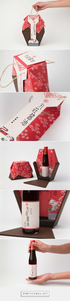 丸莊醬油 soy sauce packaging designed by Han-Ching Huang - http://www.packagingoftheworld.com/2016/01/soy-sauce-packaging.html