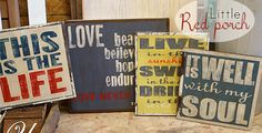 How to make distressed wood signs by Little Red Porch @savedbyloves