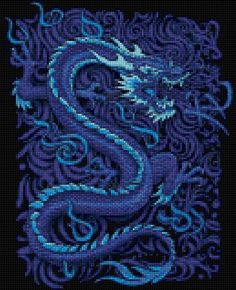 Blue Dragon Cross Stitch pattern PDF - EASY chart with one color per sheet AND traditional chart! Two charts in one!