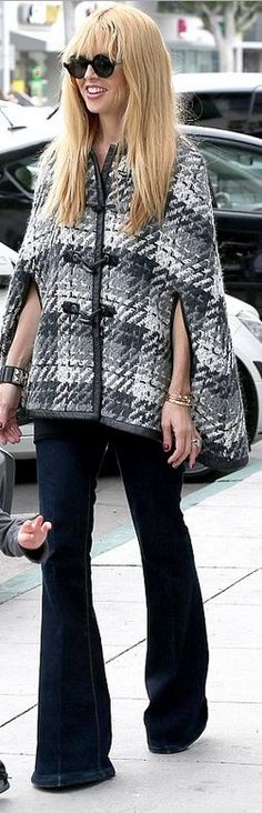 Rachel Zoe in a plaid  poncho | Research Provided By: The House of Beccaria
