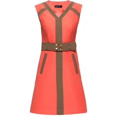 LATTORI Belted, Sleeveless V-Neck Dress (1.340 RON) ❤ liked on Polyvore featuring dresses, v neck mini dress, red glitter dress, glamorous dresses, belted dress and red dress