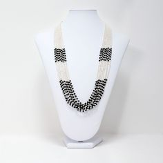 Black and White Necklace | ... Necklaces Pendants Multi Strand Seed Bead Necklace Black And White
