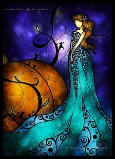 Cinderella - Disney-themed stained glass style illustration by Mandie Manzano Art Disney, Disney Kunst, Disney Style, Disney Stained Glass, Stained Glass Art, Fused Glass, L'art Du Vitrail, Cinderella Art, Cinderella Pumpkin