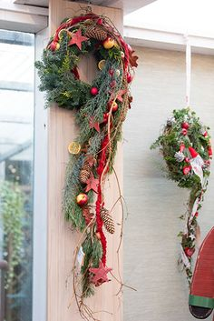 pretty holiday swag - pretty holiday swag You are in the right place about decoration paper Here we offer you the most b - Outdoor Christmas Decorations, Christmas Lights, Christmas Time, Christmas Wreaths, Christmas Crafts, Christmas Ornaments, Holiday Decor, Snowman Crafts, Halloween Crafts