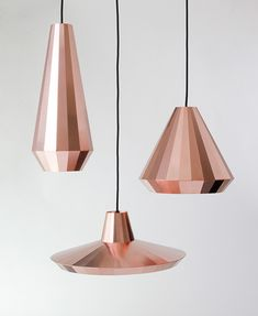 Thin copper sheet is scored and then folded into shape to create these multi-faceted pendant lamps by Dutch designer David Derksen.
