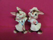 Vintage Anthropomorphic Bunny Rabbit Doctor & Nurse Salt & Pepper Shakers, Japan