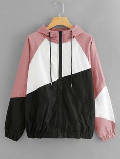 Shop Cut And Sew Hooded Windbreaker Jacket online. SHEIN offers Cut And Sew Hooded Windbreaker Jacket & more to fit your fashionable needs. Fashion News, Fashion Outfits, Womens Fashion, Mode Hijab, Young Models, Windbreaker Jacket, Hoodies, Sweatshirts, My Style