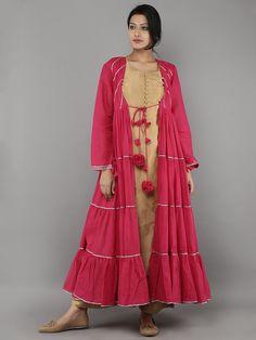 Beige Chanderi Kurta and Palazzo with Pink Mulmul Jacket - Set of 3 Indian Ethnic Wear, Clothing Patterns, Cotton Dresses, Designer Dresses, Fashion Show, Kimono Top, Saree, Kurtis, Palazzo