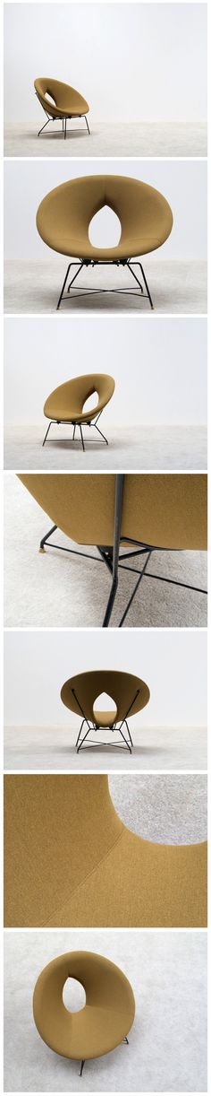 Kosmos side chair from Augusto Bozzi for Saporiti Italy, period Plywood structure, new khaki colored upholstery. Unique Furniture, Contemporary Furniture, Vintage Furniture, Furniture Design, Mid Century Modern Design, Mid Century Modern Furniture, Side Chairs, Lounge Chairs, Patterned Chair