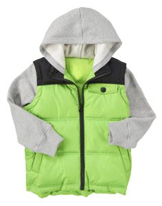 Zip on a warm colorblock puffer with layered fleece hoodie and sleeves.