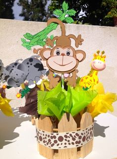 Jungle Theme Baby Shower Centerpieces via Etsy. Cute in girl colors for girl baby shower. Lavender n brown Jungle Party, Safari Party, Jungle Theme, Baby Party, Baby Shower Balloons, Baby Shower Cakes, Baby Shower Themes, Baby Boy Shower, Shower Ideas