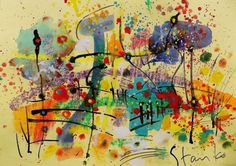 ARTFINDER: Landscaping on Jazz-XV by Stanislav Bojankov - acrylic,watercolor,pastel,ink,mixed media,on paper,unframed,signed certificate of authenticity,free shipping