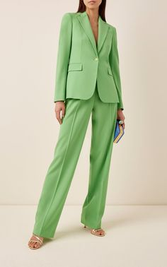 The perfect piece to prepare for the Spring season, Ralph Lauren's wide-leg 'Winnifred' pants are crafted from a sumptuous wool blend in a lime green colorway. Layer yours with the brand's tailored jacket for a complete set. Dope Fashion, Suit Fashion, Fashion Outfits, Office Fashion, Fashion Pants, Green Suit Women, Turtleneck Suit, Stylish Office Wear, Pantsuits For Women