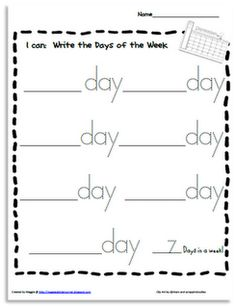 """Another Write the Room page for you clipboard!!! """"I can...Write the Days of the Week"""""""