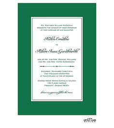 Simply Sophisticated Green Invitation - Wedding Invitations -Mug and Pia