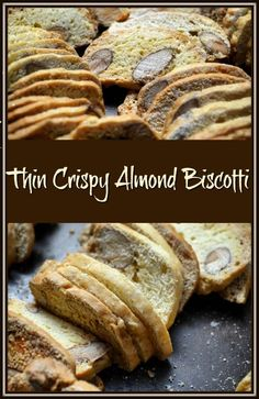 Thin Crispy Almond Biscotti - Kim Favorites - Thin Crispy Almond Biscotti If you are a fan of biscotti, and you like food with a crunch, you have to try these Thin Crispy Almond Biscotti di Nunzia. Thin Biscotti, Biscotti Cookies, Galletas Cookies, Almond Cookies, Chocolate Cookies, Sugar Cookies Recipe, Mint Chocolate, Chocolate Chips, Italian Cookie Recipes