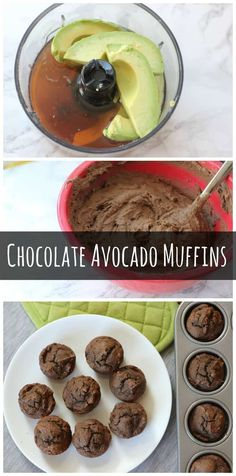 What's the secret to these healthy, whole wheat chocolate muffins? The healthy fat makes these muffins irresistibly moist but still healthy enough for breakfast!(Whole Wheat Chocolate Muffins) Muffins Blueberry, Zucchini Muffins, Healthy Muffins, Healthy Treats, Avocado Recipes, Vegan Recipes, Cooking Recipes, Diet Recipes, Vegan Baking