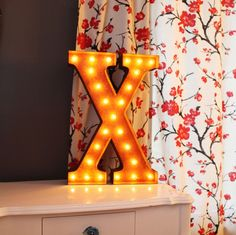 """Vintage+Marquee+Lights+24""""+Letter+X"""