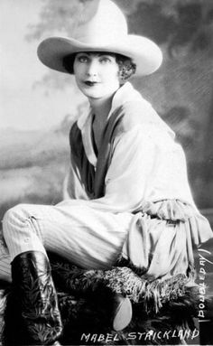 """Mabel Delong Strickland (1897-1976) 'The Lovely Lady of Rodeo."""" Throughout her twenty-five year rodeo career she had the respect of all who knew her and later received honors from various Halls of Fame confirming her rodeo prowess."""