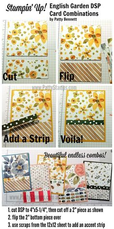 How to use all the patterns in the Stampin' UP! English Garden package of designer Paper to create endless combinations of handmade card designs