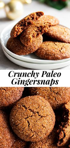 These Paleo gingersnaps have lots of crunch along with a little bit of chew giving you the best texture along with classic gingersnap flavor! They're fun to make, gluten free, grain free, dairy free and the perfect healthy cookies for the holidays or whenever you need a crunchy sweet treat! #paleo #glutenfree #cookies #paleobaking #healthybaking