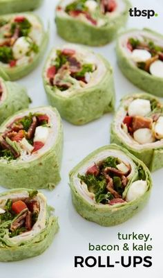 Filled with lean turkey, crisp bacon and lightly dressed kale, these roll-ups use hummus instead of cream cheese for a healthy-ish twist.