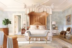 A Virginia Home by Bunny Williams - Light Blue Bedroom with Four Poster