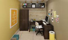 Conjunto Home Office com Mesa para Computador, Armários e Nichos Tabaco/Preto - Caaza