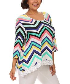 Look what I found on #zulily! White & Blue Chevron Lace-Trim Top - Plus by 1X 2X 3X & More #zulilyfinds