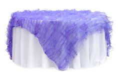 """Ruffled Sheer Organza Table Overlay Topper 85""""x85"""" Square - Purple ● $54.99 ● Available from www.cvlinens.com"""