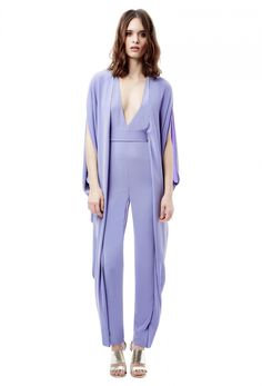 e146e3d1b5 Sedona Deep Plunge Backless Jumpsuit with Draped Sides · Purple · AQ AQ  Backless Jumpsuit