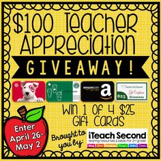 Huge Teacher Appreciation Giveaway! We're giving away $300 worth of gift cards! #giveaway #teacherappreciation