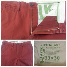 Haggar Life Khaki Red Relaxed Straight Fit Golf Pants Men's Tag Size 33x30 #Haggar #CasualPants