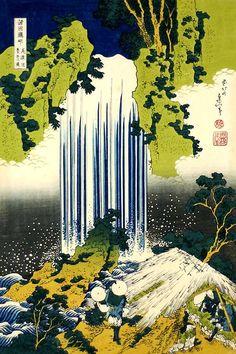 Japanese Waterfall | Tattoo Ideas & Inspiration - Japanese Art | KATSUSHIKA Hokusai (1760~1849) | #Japanese #Art